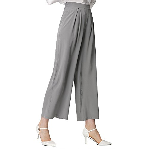LilySilk Seidenhose Pants Locker Hose mit weitem Bein Freizeithose Damen Lang aus Seide von 18 Momme Grau L Verpackung MEHRWEG