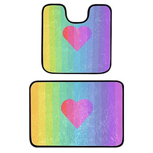 GOSMAO Alfombrillas de baño, Conjuntos 2 Piezas Antideslizante Alfombrillas de baño y Lavabo Juego de Alfombrilla de baño se Puede Lavar a máquina, Franela,Corazón de Rayas arcoíris