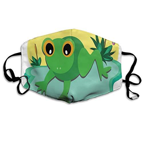 Grappige ogen Kleine Amfibieën Dier Op Groot Blad En Vijver Planten Met Levendige ButterflyPrinting Veiligheid Mond Cover voor Volwassen