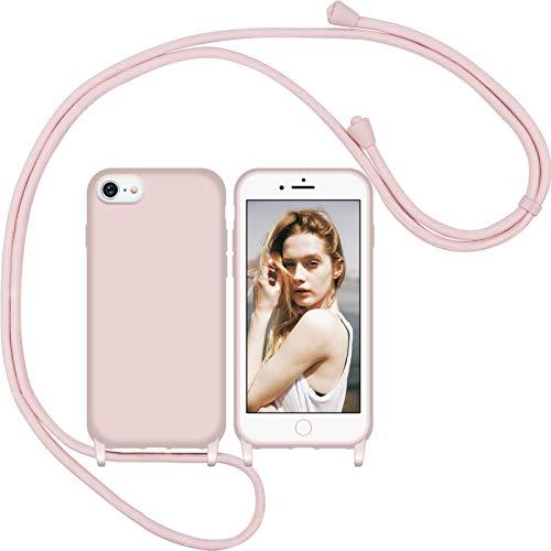 Nupcknn Liquid Silikon Handykette Hülle für iPhone 7/8/SE 2020 Hülle Necklace(abnehmbar) Hülle mit Kordel zum Umhängen Handy Schutzhülle mit Band (Rosegold)