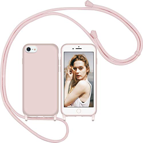 Nupcknn Funda Silicona Líquida con Cuerda para iPhone 7/iPhone 8/iPhone SE 2020, Carcasa Suave Silicona Case con Correa Colgante Ajustable Collar Correa de Cuello Cadena Cordón(Oro Rosa)