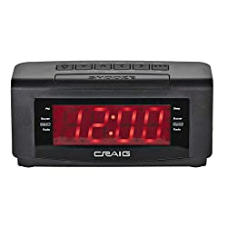 Craig CR45372 Dual Alarm Clock with Digital PLL FM Radio in Black | 1.2 inch Red LED Display | Battery or AC Operated | Snooze and Sleep Functionality | Wired Antenna |
