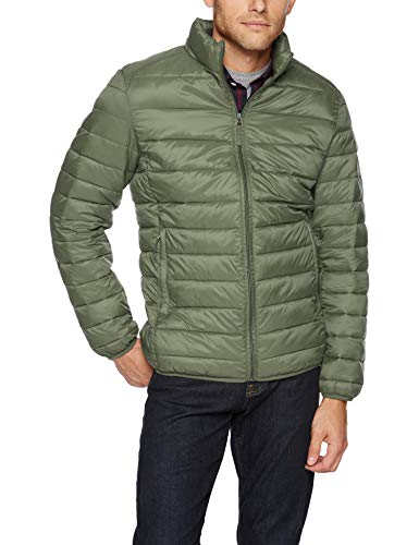 Amazon Essentials Men's Lightweight Water-Resistant Packable Puffer Jacket, Olive Heather, Large