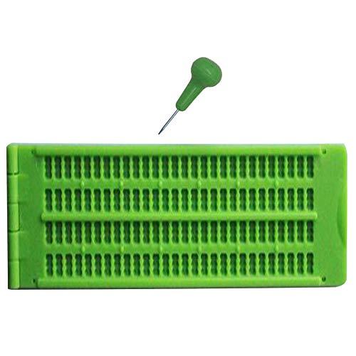 Braille Schreibgerät Schiefertafel Praktisch tragbar 4-zeilig 28 Zellen Üben mit Stylus Vision Pflege Lernwerkzeug grün