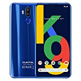 OUKITEL K9 Unlocked Smartphone, 6000mAh Battery 7.1'' FHD+ Water Drop Screen 4GB RAM+64GB ROM Mobile Phone Android9.0 Helio P35 Android Phone 16MP+8MP Dual Camera OTG Unlocked 4G Cellphone (Blue)