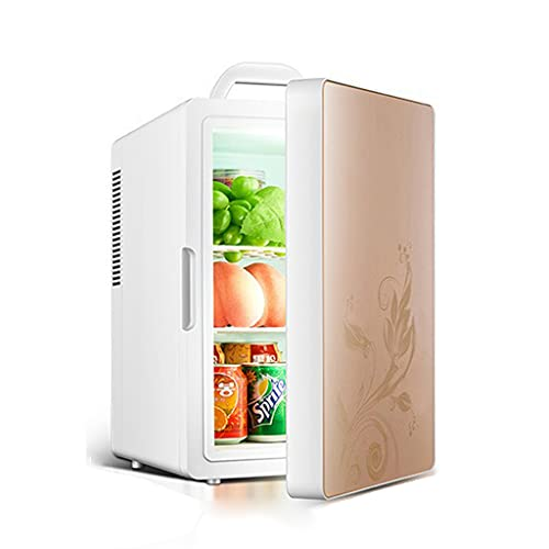 huasa Mini Refrigerador, 2 en 1 Mini Nevera Portátil para el Skincare 16L 6 Latas de Refrescos, Mini Neveras 220V/12V para Enfriar y Calentar para Hogar, Oficio y Coche,Gold