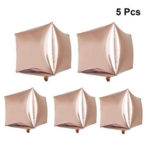 PRETYZOOM 5pcs Palloncini di stagnola del cubo di 24 Pollici aerostato di stagnola di Alluminio a Forma di Quadrato per Nozze Matrimonio Forniture di Arredamento di Festa di Compleanno (Oro Rosa)