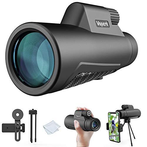 Voperk Telescopio monoculare, monoculare impermeabile 12x50 HD, obiettivo FMC BAK4 con supporto per smartphone e treppiede, impermeabile IPX7, per escursioni, visite turistiche, eventi sportivi