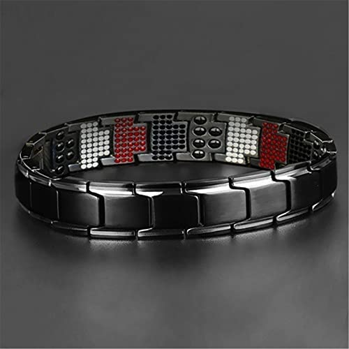 znvwki Magnetic Therapy Fit Plus Bracelet, Men's Double Magnet Wide Titanium Magnetic Therapy, Ultra Strength Magnetic Therapy Bracelet, Adjustable Length Magnetic Jewelry Bracelet for Men