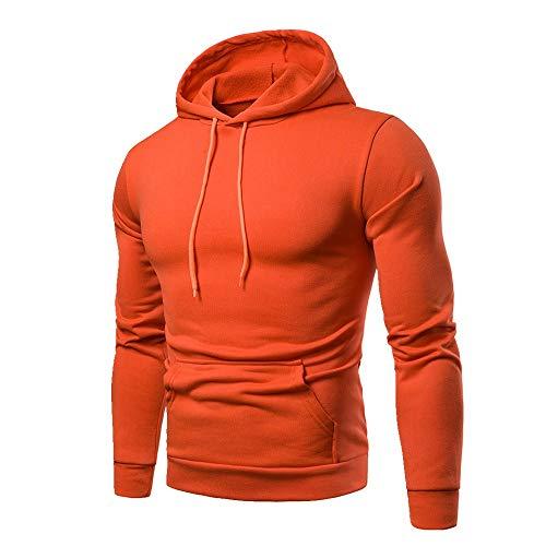U/A - Abrigo casual con capucha para hombre, color puro, para otoño e invierno Naranja naranja XL