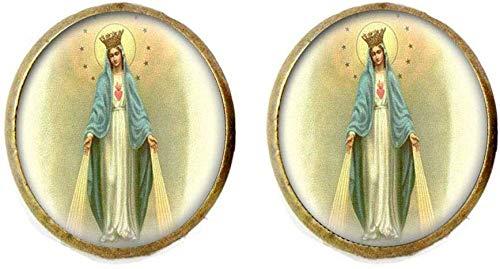 Pendientes con medalla de Nuestra Señora de la Milagrosa Virgen María, joyería de cristal para fotos