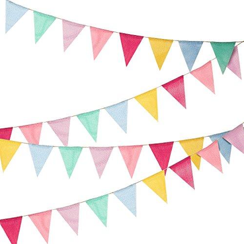 Hicarer 36 Drapeaux imités Drapeaux de Triangle Multicolore de bannière de Toile de Jute de Toile de Jute pour la décoration de Partie