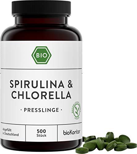 Spirulina + Chlorella Presslinge BIO | 500 Tabletten | 100 {4b6e6251603b1bc623a3f5af46a7869272951934af3c03c8fa559f70d8ecf732} natürlich - ohne Zusätze | 400 mg je Tablette | laborgeprüft | bioKontor