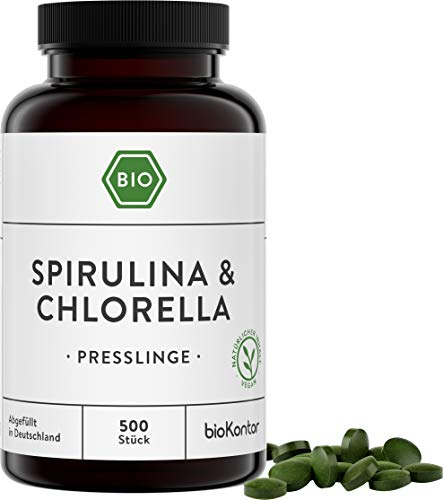 Spirulina + Chlorella Presslinge BIO | 500 Tabletten | 100% natürlich - ohne Zusätze | 400mg je Tablette - hochdosiert | laborgeprüft | bioKontor