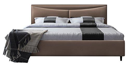 IQ Bed Modell Tampa Polsterbett, nuss,  200 X 180, Kopfteil 106 cm hoch