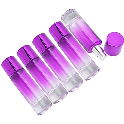 Botella de perfume, 5 piezas de vidrio Durable botella de spray de 30 ml, recargable para mujeres que almacenan perfumes, regalos de vacaciones(purple)