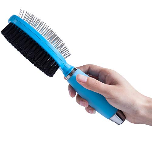 grooming combs for dogs LukPaw Dog Grooming Brush Pet Hair Comb Professional Double Sided Bristle & Pin Brush Dog Grooming Comb with Silicone Handle for Dogs Cats Pets (Brush), Blue