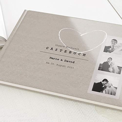 sendmoments Hochzeit Gästebuch Vintage Wedding, individuell mit Wunschtext und persönlichem Foto,...