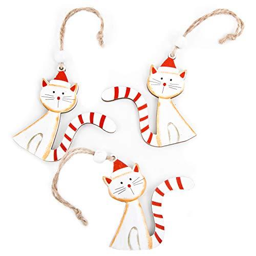 Logbuch-Verlag 3 ciondoli Natalizi Gatto Legno Marrone Bianco Rosso Amanti Quattro Zampe Regalo addobbi Albero Natale Decorazione Vintage Gatti micio