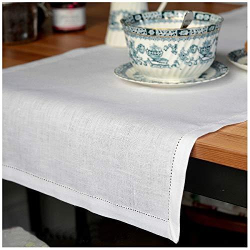 Linen & Cotton - Camino de Mesa Muy Elegante de Tela con Vainica Florence, 100% Lino (43 x 180cm, Blanco)