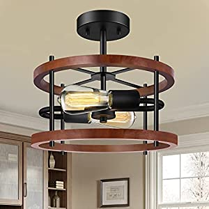 2-Light Semi Flush Mount Ceiling Light Fixtures, Farmhouse Red Brown Ceiling Wooden Lamp with Black Base, Retro Industrial Close to Ceiling Light for Kitchen, Hallway, Bedroom, Entryway, Dining Room
