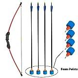 SinoArt 45' Archery Recurve Bow and Arrow Set for Teens Beginner with 4 Pcs Fiberglass Arrows 4 Pcs Foam Points