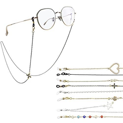 QiGui 8 cadenas de gafas para mujer en oro, plata y negro, elegante banda para gafas, cadena para gafas de sol y gafas de lectura.
