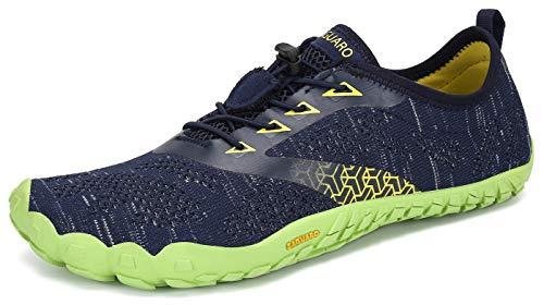 SAGUARO Hombre Mujer Zapatos Minimalistas Comodas Respirable Zapatillas de Trail Running Ligeras Calzado Barefoot Antideslizante para Gimnasio Fitness Senderismo Montaña, Azul 44 EU