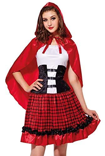 Disfraz de Caperucita Roja de alta calidad para mujer, vestido de cuento con capa, carnaval, despedida de soltera, teatro, fiesta temática rojo / blanco / negro S