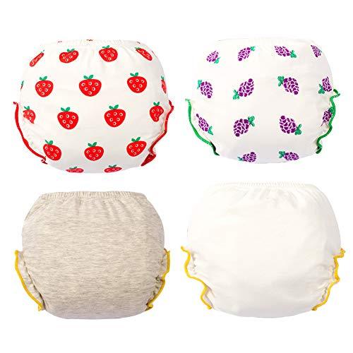 LPATTERN Baby Kleinkind Jungen/Mädchen 4er Pack Wiederverwendbare Unterhosen Trainerhosen Waschbar Baumwolle Unterwäsche, Erdbeere + Traube + Grau + Weiß, 68 |70CM für Gewicht 5-10KG