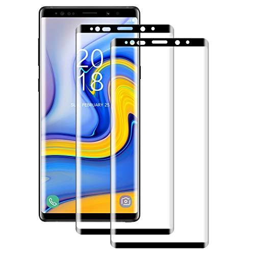 NUOCHENG Cristal Templado para Samsung Galaxy Note 9, [2 Pack] 3D Cobertura Completa Protector de Pantalla para Galaxy Note 9, 9H Dureza, Anti-rasguños,Sin Burbujas [Negro]