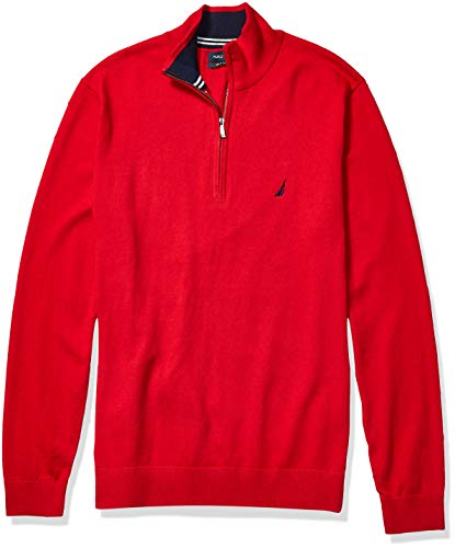 Nautica Men's Big and Tall Navtech Quarter-Zip Sweater, Red, 3X-Large