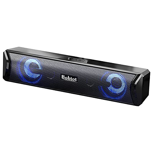 Computer Speakers Bluetooth Sound Bar - Wireless/USB AUX Wired HiFi Stereo Mini Subwoofer RGB Gaming Soundbar for Monitor/Tablets/Desktop/Laptop/PC