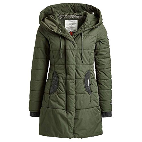 khujo Abrigo de mujer Sherma con cordón en la capucha, abrigo acolchado con detalles de punto