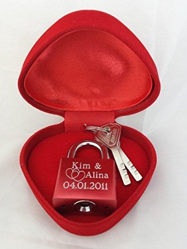 Romeo&Love Elegantes Liebesschloss + Geschenk Herzbox Rot individuelle Wunsch Gravur Geschenk Idee Geburtstag Jahrestag Hochzeitstag Valentinstag Weihnachts Geschenk für die ewige Liebe