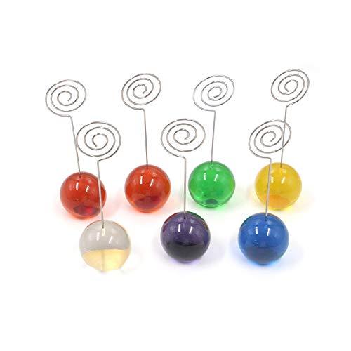 MTMTOOL - Soporte para tarjetas de resina con clip para notas, pinzas de alambre de metal, soporte de clip para notas de papel, clip para mesa de boda, decoración del hogar, paquete de 7 (colorido)