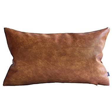Kdays Thick Faux Leather Pillow Cover Tan Decorative For Couch Throw Pillow Case Brown Leather Cushion Cover Solid Color Leather Pillow 12x20 Inches