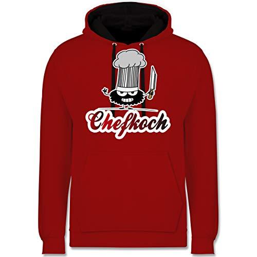 Shirtracer Küche - Chefkoch Monster mit Messer - L - Rot/Schwarz - Grill - JH003 - Hoodie zweifarbig und Kapuzenpullover für Herren und Damen