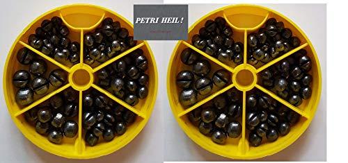 Set: 2 Dosen Bleischrot Sortimentsdose á 120gr (1,0gr, 1,25gr, 1,8gr und 2,9gr)+ gratis Petri Heil! Aufkleber