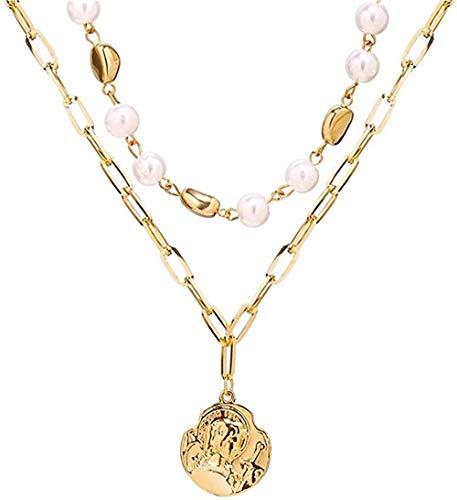 NC190 Collar con Colgante, Gargantilla de múltiples Capas, Collar para Mujer, Perlas de imitación Vintage, Cadenas de Oro, joyería, Regalos