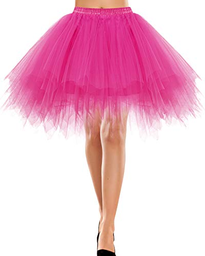 Bbonlinedress Damen Tüllrock 50er Rockabilly Petticoat Tutu Unterrock Kurz Ballett Tanzkleid Ballkleid Ballet Abendkleid Gelegenheit Zubehör Fuschia S
