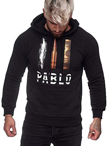 OneRedox Herren Pullover Pablo Escobar Narcos Cocaine Sweatshirt Longsleeve Langarm Hoodie Modell H-1080 Schwarz L
