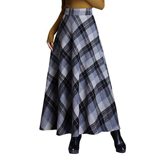 Byqny Damen Warm Vintage Plissee Maxirock Eleganter Flared Rock Plaid Wollrock hohe Taille Langen Röcke Regenschirmrock Großes Pendel Herbst Tartan Winterrock 5# graues GitterL