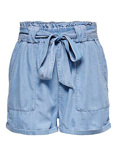 ONLY Damen Shorts Paperbag 38Light Blue Denim