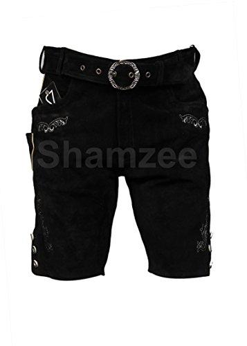 Shamzee klederdracht leren broek kort inclusief riem van echt leer in zwart kleur maat 46-62 Artkl 572-BLK