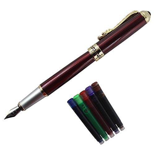 Gullor drago d'oro occhi di rubino più nobile penna stilografica 1000 penna originale set cartuccia di inchiostro sacchetto - rosso