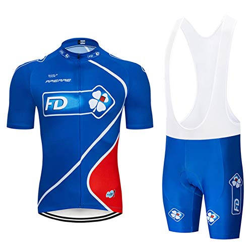 QWA Verano Hombres Ciclismo Jersey Secado Rápido Respirable Camisa + Cojín 9D Pantalones Cortos Acolchados Pantalones/Bib Short Reflexivo 3 Bolsillos (Color : Blue 2, Size : B(S))