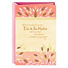 "Send wishes for a happy Mother's Day to your wonderful mom with a card en Español she's sure to appreciate. Cover features a pretty pink and gold design accented with foil and glitter, and reads: ""Cómo agradecerte en este Día de las Madres todo lo qu..."