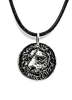 MOONLY Lion Coin Pendant 925 Sterling Silver Necklace Lion King Oxidized Lion Head Coin