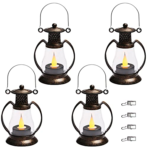 Reperla Mini linterna, paquete de 4 linternas de vela pequeñas vintage con vela LED parpadeante para linternas de interior,...